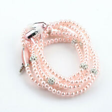 Fashio Pink Jewelry pearl Necklace Earphones Mic Beads 3.5mm In-ear Headphone