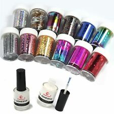 New 12 Colors Nail Art Transfer Foil Sticker for Nail Tips Decoration+2 Glue Kit