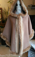 WOMENS DARK CAMEL TAN FAUX FUR HOODED WINTER CAPE COAT PONCHO ONE SIZE NEW