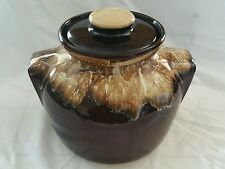 Vintage Brown Drip Bean Pot With Handles Lid R.R.P.Co, Roseville, OH Large Rare