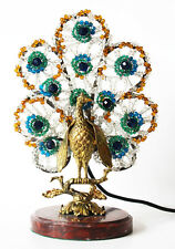 Antique Rare Czech Antique Beaded Peacock Lamp So Incredible!