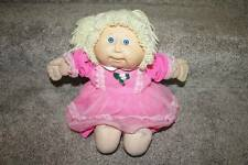 Cabbage Patch Doll Vintage Yarn Hair Blonde Blue Eyes Pink Dress 1986 RARE HTF