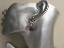 Purple Amethyst Heart Half Hoop Sterling Silver  Earrings  Feb Birthstone