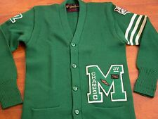 Vtg Jones Knitting Mills LA 1940s-50s Cardigen Patch Letterman Green Sweater M