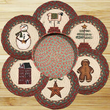 "Winter CHRISTMAS 100% Natural Jute 10"" Trivet/Placemat, Set of 6 in Basket"