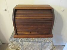 Vintage Large Solid Dark Wood  Bread Box - Removeable Bottom Ez Cleaning