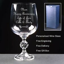 Personalised 12oz Crystal Wine Glass, Anniversary Gift 5th 10th 20th 25th 30th