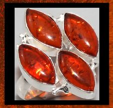 NEW - 4 TEARDROP SHAPED PRESSED AMBER STONE SILVER RING SIZE 8