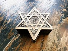 STAR OF DAVID & MENORAH BRONZE FINISH TRINKET BOX BY VERONESE DESIGN
