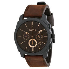Fossil Men's FS4656 Machine Chronograph Brown Dial Brown Leather Watch