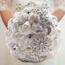 Handmade Rose Flower Silk Crystal Pearl Brooch Wedding Bridal Bouquet White