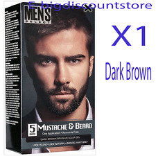 1X Men's Select Mustache & Beard Hair Dark Brown Brush-In Color Dye Gel In 5 Min