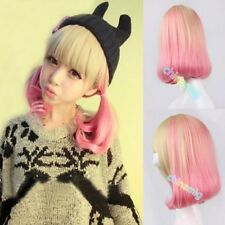 Cute Lady Lolita Style Wig Short Curly Hair Cosplay Costume Blonde+Pink Wig