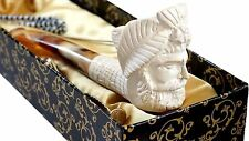 NEW ANTIQUE HAND CARVED MEERSCHAUM SMOKING PIPE OTTOMAN SULTAN MUSTAFA WITH CASE