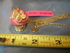 BETSEY JOHNSON CUPCAKE LOCKET With Mouse LONG PENDANT CHARM NECKLACE With Tag