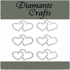 6 x 31mm Clear Diamante Double Hearts Self Adhesive Rhinestone Vajazzle Body Gem
