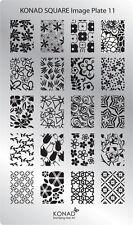 Original KONAD Schablone Plate Stamping Platte Square Stamp  #11
