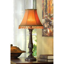 BEADED SHADE LEAF MOTIF ACCENT TABLE LAMP CARVED BASE DECOR~~32276