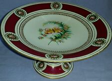 ANTIQUE 1851 MINTON HAND PAINTED FINE PORCELAIN CAKE STAND BUTTERFLY & MEDALLION