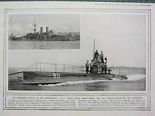 1915 WWI WW1 PRINT ~ SUBMARINE EXPLOIT DARDANELLES B11 TURKISH BATTLE-SHIP