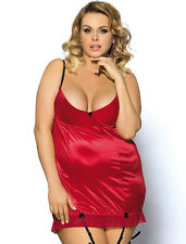 RED SATIN-FRONT CHEMISE WITH BLACK STRAPS- SIZE 20