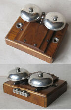 OLD MASSIVE ELECTRIC DOOR DOUBLE BELL / WOODEN BOX / 60 V / NICE SOUND