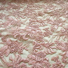 """Pink Champaign Orchads Bluets Corded on Mesh Guipure Lace 100% Polyester 54"""" w"""