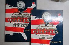STATE QUARTERS  COIN FOLDERS, 1999-2008, Vol. 1 & 2, Complete P/D MINTS, Used