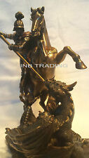 Set  ST. George On Horse Slaying Dragon & Archangel- Saint St. Michael Statue