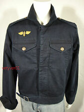 "New RALPH LAUREN D&S Military Field ""IKE"" Jacket Cotton Twill Navy Blue sz XXL"