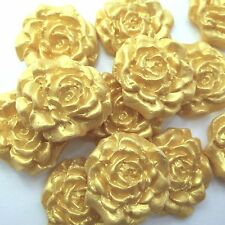 12 Small Gold Pearl Sugar Roses edible sugarpaste golden wedding cake decoration