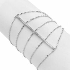 MULTI - CHAIN BRACELET W/ 1 CT LAB DIAMONDS / 925 STERLING SILVER / 7'' TO 8''