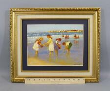 Vintage Original VERNON BROE, Children Playing on Cape Cod Beach, Oil Painting