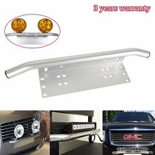 Bull Bar Front Bumper License Plate Mount Bracket Holder Sliver Offroad Light