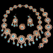 Gold Plated African Jewellery Set Blue Turquoise Round Wedding Necklace Set