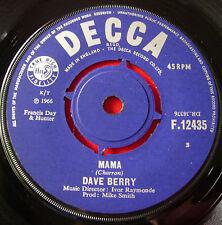 """Dave Berry Mama 7"""" UK ORIG 1966 Decca F.12435 b/w Walk Walk Talk Talk"""