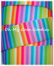 1.5 CANDYLAND STRIPE CANDY BRIGHT MULTI SCHOOL GROSGRAIN RIBBON 4 BOW HAIRBOW