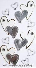 Artoz Artwork 3D-Sticker, geschwungene Herzen silber, Hochzeit