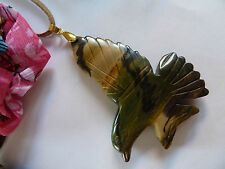 Large Natural Picasso Jasper Gemstone BIRD Pendant Necklace, one-off jewellery