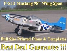 "P-51D Mustang 98"" WS Giant Scale RC Airplane Full Size PRINTED Plans & Templates"