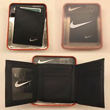 NIKE MEN'S BLACK TRIFOLD GENUINE PEBBLE GRAIN LEATHER WALLET NEW IN BOX