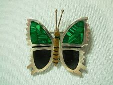 VINTGE TAXCO MEXICO STERLING SILVER INLAID MALACHITE & ONYX BUTTERFLY BROOCH PIN