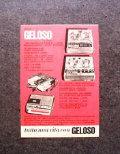K630-Advertising Pubblicità-1969- GELOSO REGISTRATORI A BOBINE ED A CASSETTE
