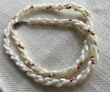 vintage necklace Mother of Pearl oval beads & real CORAL spacers ~