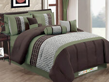 7 Quilted Diamond Embroidery Pintuck Striped Comforter Set Sage Brown Gray Queen