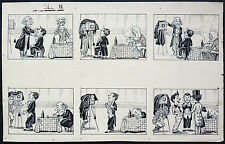 Dessin planche originale de Maurice MOTET vers 1905 photographe Clown cirque