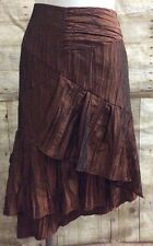 SIMON CHANG Tiered Ruffled Bronze Arriere Back Lined Skirt Size 6 - Excellent