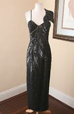 Vtg Black Ornate Silk Beaded Floral Evening Formal Gown Dress Sz 8 Leaf Party
