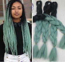 "1pc 100g Black Blue kanekalon jumbo braid xpressions braiding hair extension 24"""