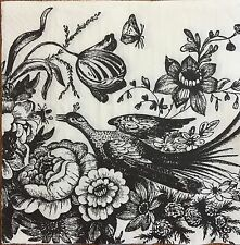 2 single paper napkin decoupage collection Serviette Bird Flower Black and White